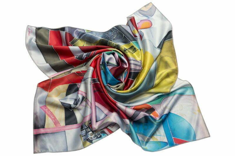 "Square neck scarf ""Blue Motion"""