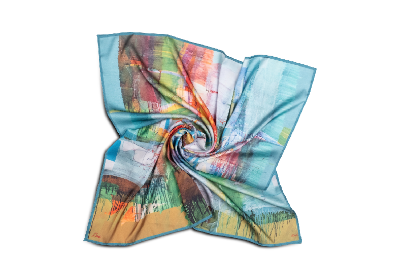 "Silk scarf ""Invention of the bicycle #1"""