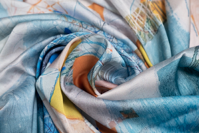 """Silk scarf """"Invention of the bicycle #5"""""""