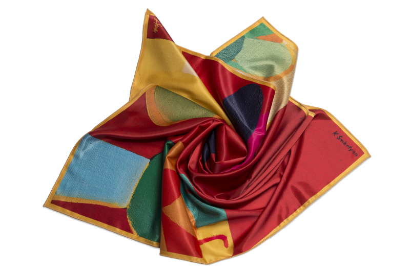 "Square neck scarf ""Red Background"""