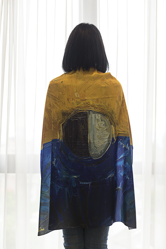 """Neck Scarf """"Blue and Yellow Composition"""" - img. 2"""