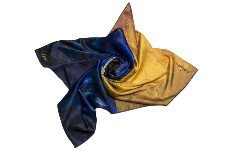 """Neck Scarf """"Blue and Yellow Composition"""""""
