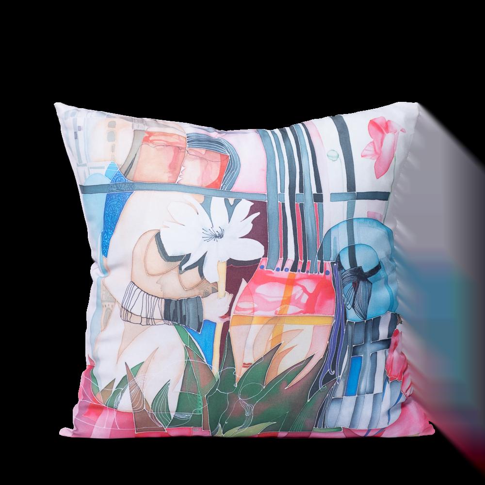 "Square art pillow ""I am a flower"""