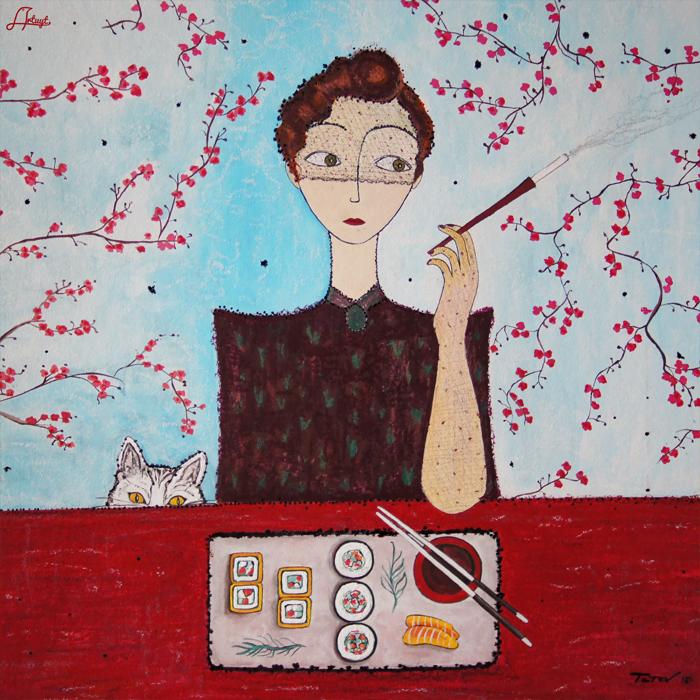 "Neck Scarf ""Cat Sushi Woman"" - img. 4"