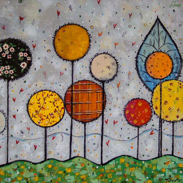 "Square neck scarf ""Garden"" - img. 5"