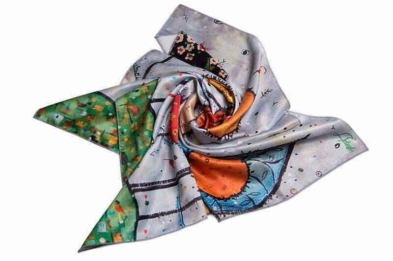 "Square neck scarf ""Garden"""